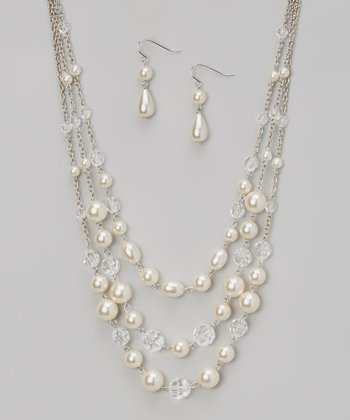 Silver & Pearl Triple-Strand Necklace & Drop Earrings