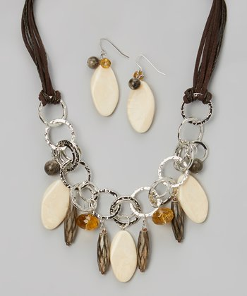 Ivory & Brown When the World Ends Necklace & Drop Earrings