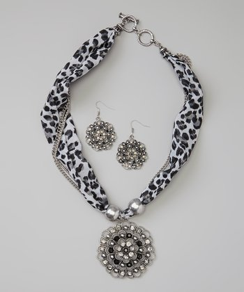 Silver Wild Leopard Scarf Necklace & Drop Earrings