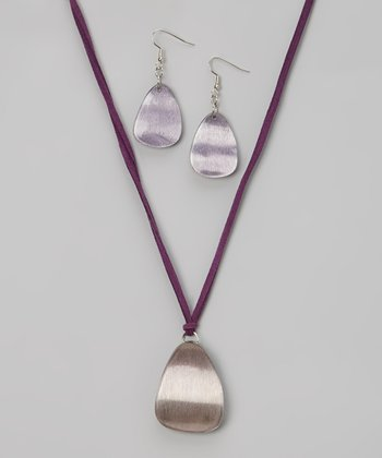 Purple Moonlit Madness Pendant Necklace & Drop Earrings