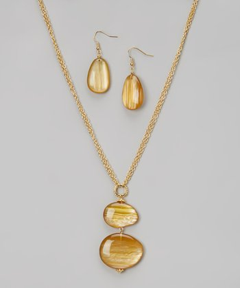 Almond & Honey Pendant Necklace & Drop Earrings