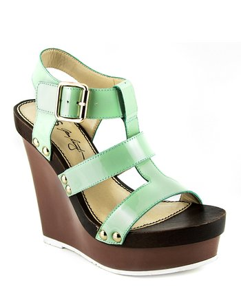Mint & Brown Graciela Leather Ankle-Strap Wedge