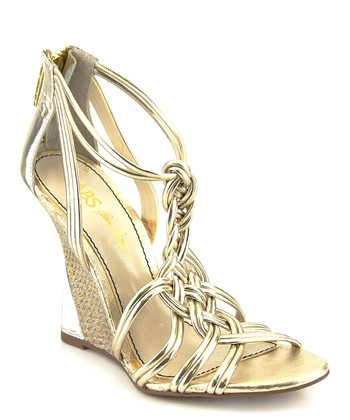 Gold Sylvie Leather Wedge