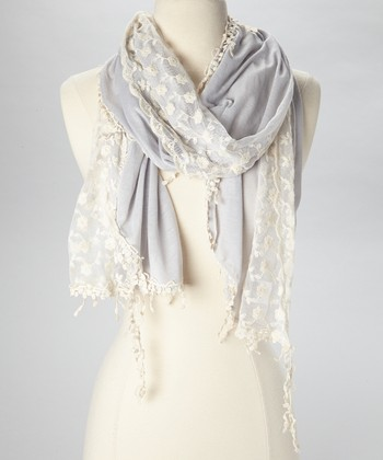 Gray & Cream Lace Scarf