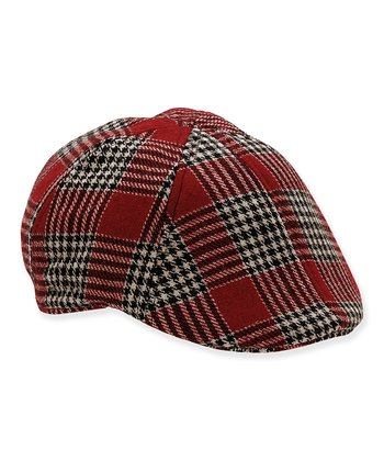 Red Plaid Beechcroft Wool Newsboy Cap