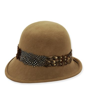 Camel Feather Trim Wescott Wool Felt Cloche
