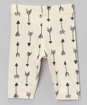 Cream & Black Arrow Leggings - Infant & Toddler