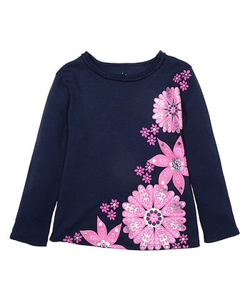 Midnight Blue & Pink Flower Long-Sleeve Tee - Toddler & Girls