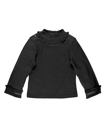 Black Ruffle Neck Top - Toddler & Girls