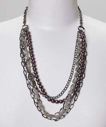 Gray Pearl Chain Necklace