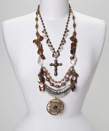 Silver & Gold Bead Cross Medallion Bib Necklace