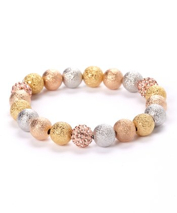 Gold & Crystal Beaded Micro Pavé Stretch Bracelet