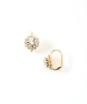 Gold & Crystal Flower Huggie Earrings