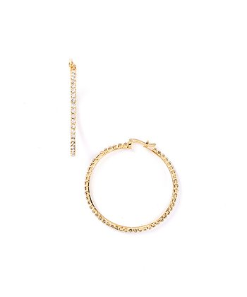 Gold Gem Pavé Hoop Earrings
