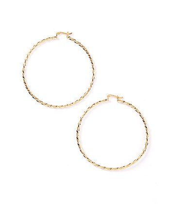 Gold Twist Faceted Hoop Earrings