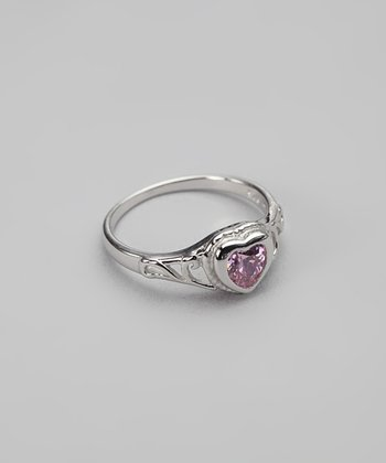 Tiny Treasures  Pink Cubic Zirconia & Sterling Silver Heart Ring