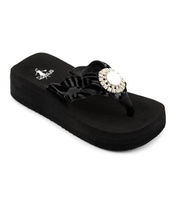 Black Zebra Jeweled Sandal