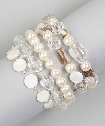 White Shell Sparkle Stretch Bracelet Set