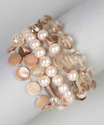 Natural Shell & Sparkle Stretch Bracelet Set