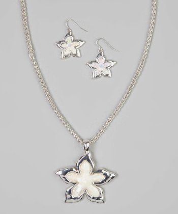 Mother-of-Pearl Sea Star Pendant Necklace & Drop Earrings