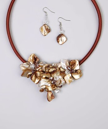 Gold Floral Shell Bib Necklace & Drop Earrings