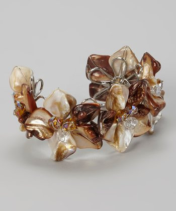 Brown Floral Shell Cuff