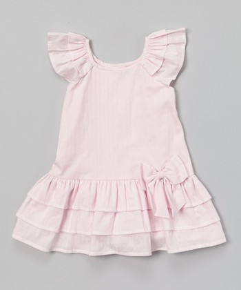 Blush Angel-Sleeve Drop Waist Dress - Infant & Toddler
