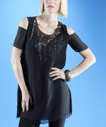 Dolce Cabo Black Embellished Cutout Top - Women
