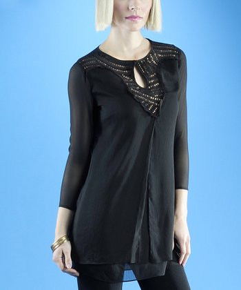 Dolce Cabo Black Sequin Keyhole Top - Women