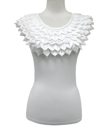 Dolce Cabo White Statement Collar Top - Women
