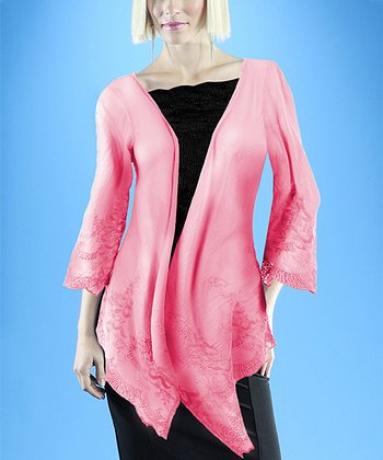Dolce Cabo Guava Pink Lace Linen-Blend Cardigan - Women