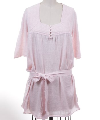 Dolce Cabo Ice Pink Sash Linen-Blend Top - Women