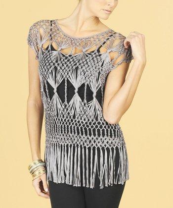 Dolce Cabo Ash Gray Fringe Crochet Top - Women