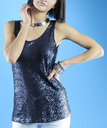 Dolce Cabo Navy Sequin Tank - Women