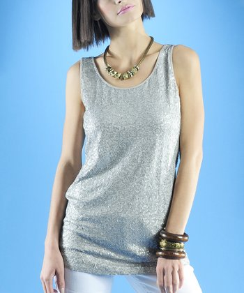 Dolce Cabo Pearl Gray Sequin Tank - Women