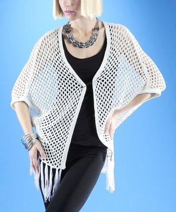 Dolce Cabo White Crochet Tassel Open Cardigan - Women