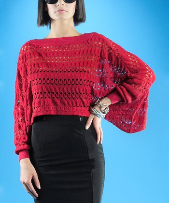 Dolce Cabo Red Boatneck Dolman Sweater - Women