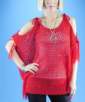 Dolce Cabo Red Crochet Fringe Cutout Sweater - Women