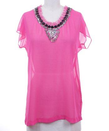 Dolce Cabo Guava Pink Sheer Embellished Top - Women