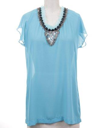 Dolce Cabo Aqua Sheer Embellished Top - Women