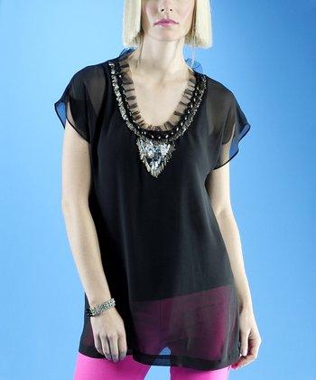 Dolce Cabo Black Sheer Embellished Top - Women