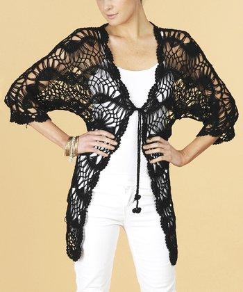 Dolce Cabo Black Crochet Cardigan - Women