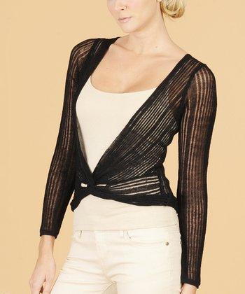 Dolce Cabo Black Sheer Stripe Cardigan - Women