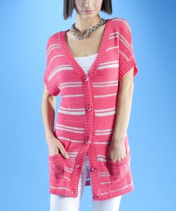 Dolce Cabo Guava Pink & Silver Stripe Cardigan - Women