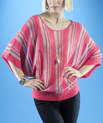 Dolce Cabo Guava Pink & Silver Stripe Dolman Sweater - Women