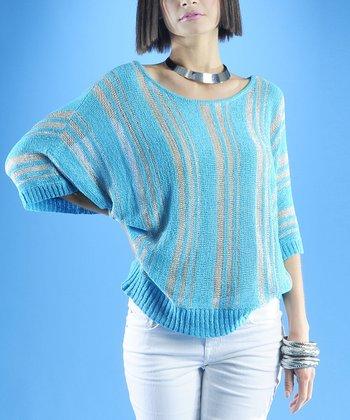 Dolce Cabo Aqua & Silver Stripe Dolman Sweater - Women