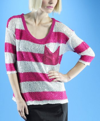 Dolce Cabo Pink & White Stripe Sweater - Women