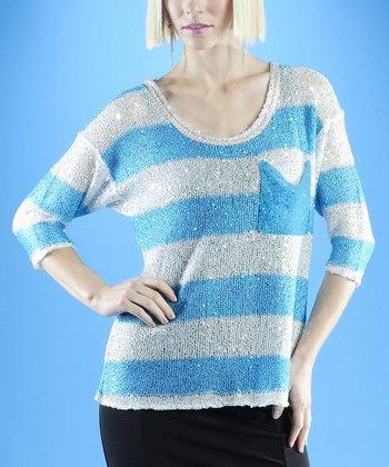 Dolce Cabo Aqua & White Stripe Sweater - Women