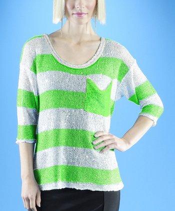 Dolce Cabo Kiwi & White Stripe Sweater - Women