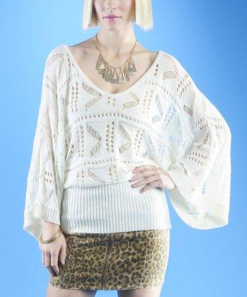 Dolce Cabo White Chevron Dolman Sweater - Women